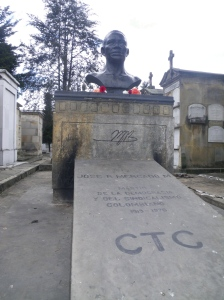 Violent threats against lawyers, human rights workers and trade union leaders are conveyed with photos like this one of a monument to a slain union leader.