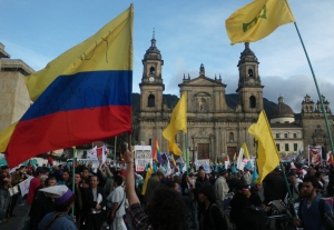 (Photo: David Hogben) Bogotá´s Plaza de Bolívar has been the scene of three massive protests in favour of left-wing Mayor Gustavo Petro since it was announced he would be fired over supposed poor garbage collection service by Colombia´s inspector general.
