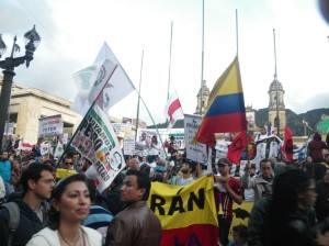 (Photo: David Hogben) Some 60,000 protesters crowded into Bogotá´s Plaza de Bolívar to protest against the firing of Mayor Gustavo Petro.