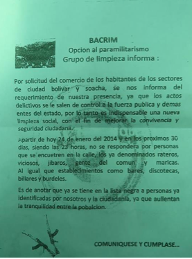 "As congressional and presidential elections in Colombia near, violence against the left increases. Paramilitaries are again posting notices like this one in Soacha, on the outskirts of Bogotá, threatening ""social cleansings"". Such threats usually preceed attacks against left-wing politicians and activists."